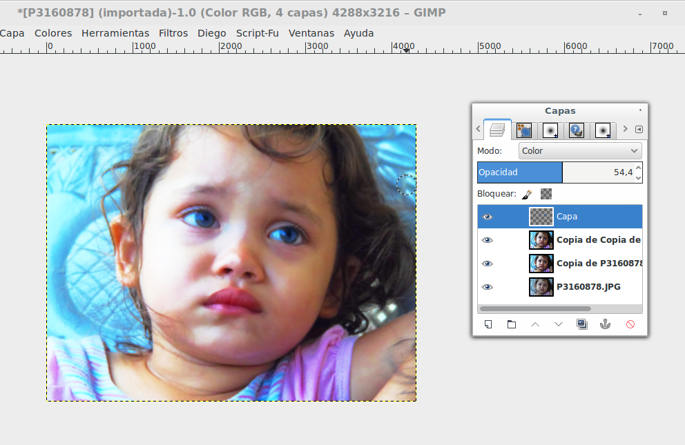 Tutorial gimp cambiar color de ojos